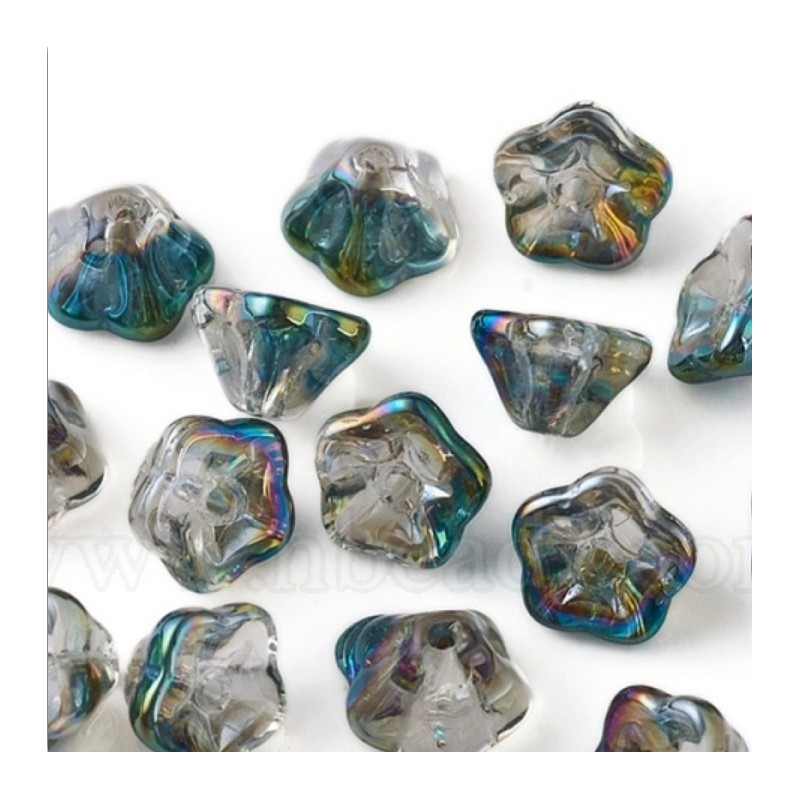 M1279 Glass Trumpet Flower Bead China TEAL 8.5mm