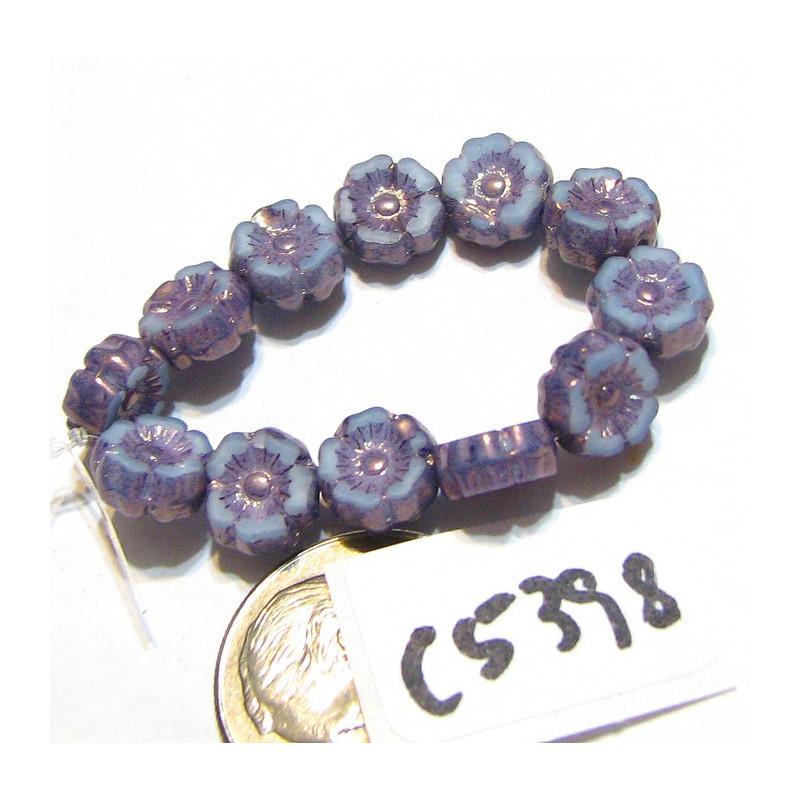 C5398 Czech Glass Hawaiian Flower Bead BLUE SKY SILK w/ PURPLE WASH 7mm
