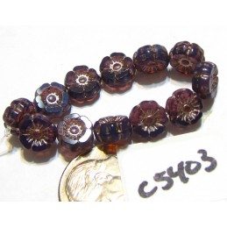 C5403 Czech Glass Hawaiian Flower Bead PURPLE OPALINE w/ PLATINUM WASH   7mm