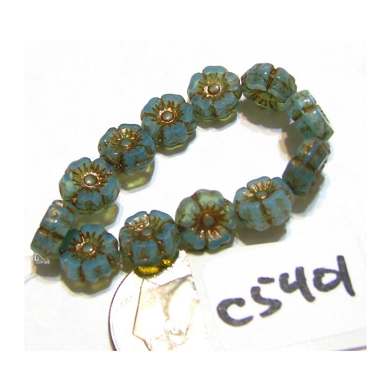 C5401 Czech Glass Hawaiian Flower Bead GREEN SILK w/ DARK BRONZE  WASH  7mm