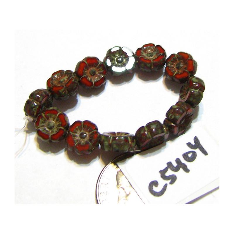 C5404 Czech Glass Hawaiian Flower Bead BURNT ORANGE OPALINE w/ PICASSO  7mm
