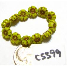 C5399 Czech Glass Hawaiian Flower Bead CANARY YELLOW OPALINE w/ DARK BRONZE WASH   7mm