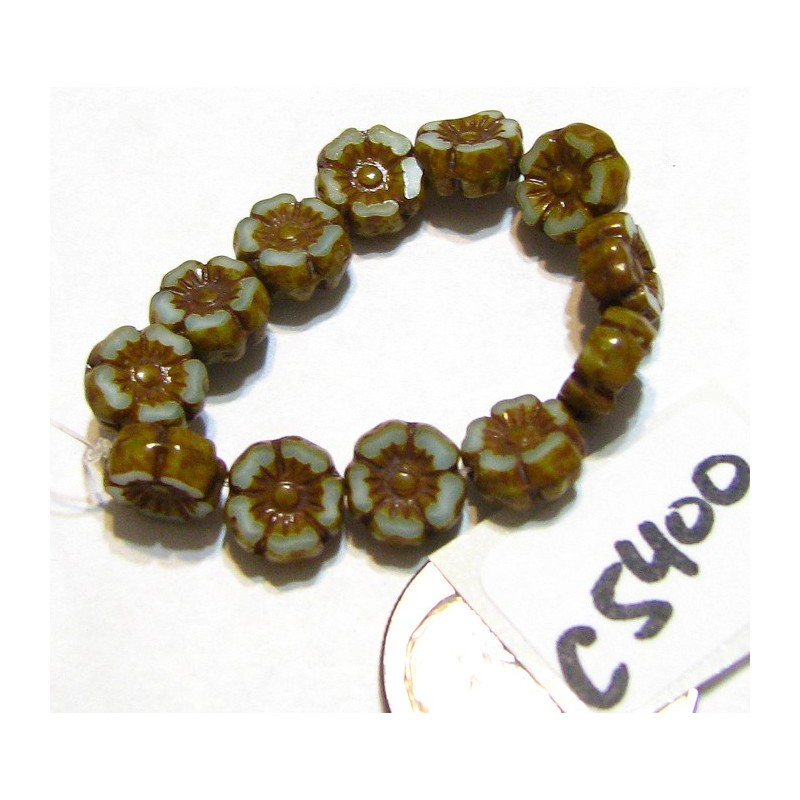 C5400 Czech Glass Hawaiian Flower Bead BLUE SKY SILK w/ PICASSO 7mm