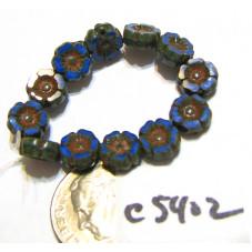 C5402 Czech Glass Hawaiian Flower Bead ROYAL BLUE SILK w/ BRONZE WASH  7mm