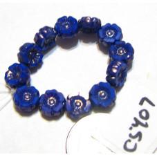 C5407 Czech Glass Hawaiian Flower Bead ROYAL BLUE SILK w/ PICASSO  7mm