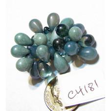 C4181 Czech Glass Teardrop Beads LIGHT BLUE & LIGHT SLATE BLUE MIX  6x9mm