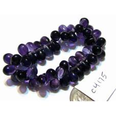 C4175 Czech Glass Teardrop Beads PURPLE PANSY  5x7mm