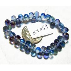 C4059 Czech Glass Teardrop Beads PALE BLUE & HYACINTH 4x6mm