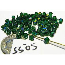 FPS505 Swarovski Crystal  Bicone Bead MEDIUM EMERALD AB 4mm