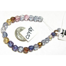 C5484 Czech Faceted Round  Fire Polished  LUSTER MIX 6mm