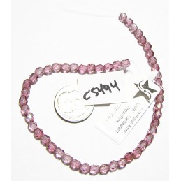 C5494 Czech Glass Faceted Round Bead TOPAZ & PINK LUSTER   4mm