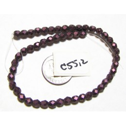 C5512 Czech Glass Faceted Round Bead METALLIC SUEDE PINK   4mm