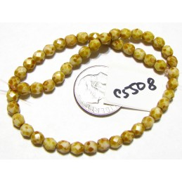 C5508 Czech Glass Faceted Round Beads WHITE w/ PICASSO  4mm