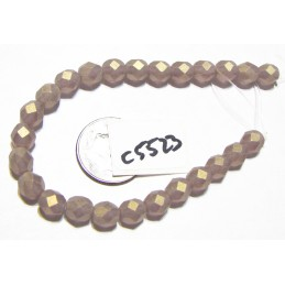 C5523 Czech Glass Faceted Round Bead SUEDED GOLD MEDIUM AMETHYST  6mm