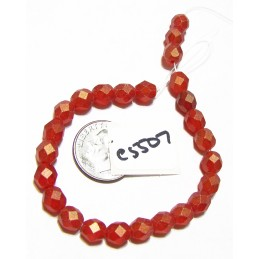 C5507 Czech Glass Faceted Round SUEDED GOLD RUBY 6mm