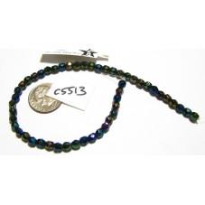 C5513 Czech Glass Faceted Round Bead GREEN IRIS   4mm
