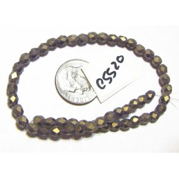 C5520 Czech Glass Faceted Round Bead SUEDED GOLD TANZANITE   4mm