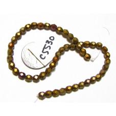 C5530 Czech Glass Faceted Round Bead MATTE METALLIC GOLD IRIS   4mm