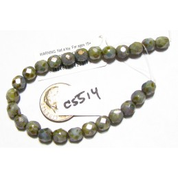 C5514 Czech Glass Faceted Round Bead OPAQUE GREEN LUSTER  6mm