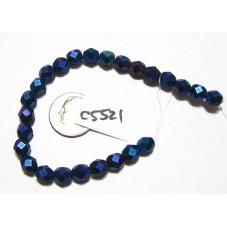 C5521 Czech Glass Faceted Round MATTE BLUE IRIS 6mm