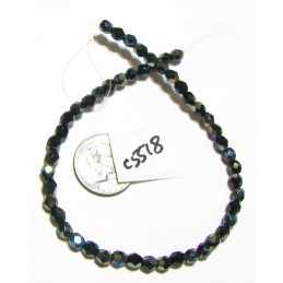 C5518 Czech Glass Faceted Round JET CELSIAN 4mm