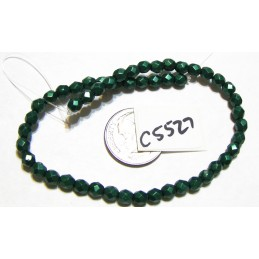 C5527 Czech Glass Faceted Round Bead SATURATED METALLIC MARTINI OLIVE   4mm