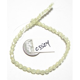 C5524 Czech Glass Faceted Round Bead SUEDED GOLD JONQUIL   4mm