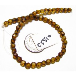 C5510 Czech Glass Faceted Round Bead CRYSTAL PICASSO   4mm