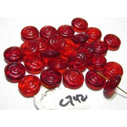 C742 Czech Glass Spiral Rondelle RED  13.5x5mm