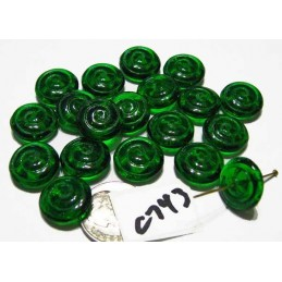 C743 Czech Glass Spiral Rondelle EMERALD 13.5x5mm