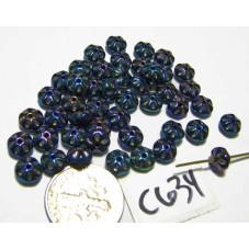 C634 Czech Glass Flat Flower OPAQUE IRIS BLUE 6x3mm