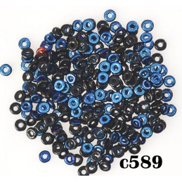 C589 Czech Glass O Ring JET AZURE 3mm