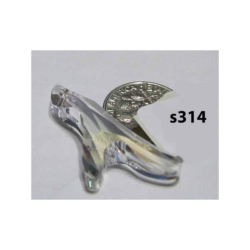 S314 Swarovski Coral Pendant 2 Sprigs 6791 CRYSTAL MOONLIGHT SHADOW 34mm
