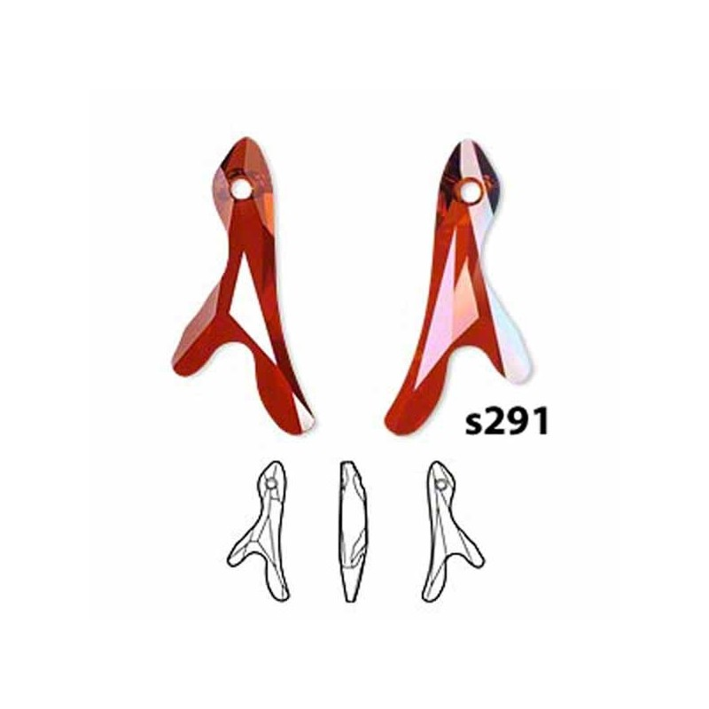 S291 Swarovski Coral Pendant 2 Sprigs 6791 RED MAGMA 25mm