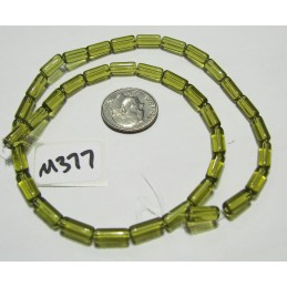 M377 Glass Tube Bead OLIVE 10x4mm