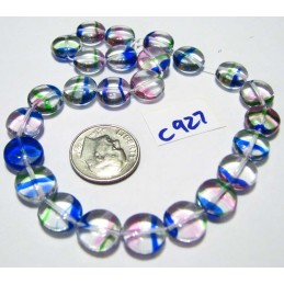 C927 Czech Glass Round Disc MULTI COLOR 10mm