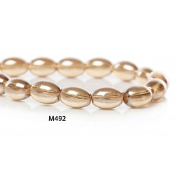M492 Glass Oval Bead CHAMPAGNE GOLD AB TRANS 9mm