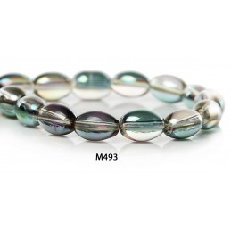 M493 Glass Oval Bead AB TRANS 9mm