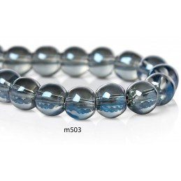 M503 Glass Round Bead BLUE GREY AB TRANS 6mm