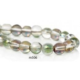 M506 Glass Round Bead GREEN AB TRANS 6mm