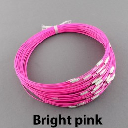 BRIGHT PINK Stainless Steel Choker Screw Clasp 18 inch
