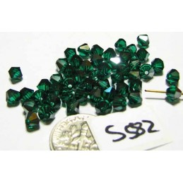 S582 Swarovski Bicone Bead EMERALD SATIN 5mm