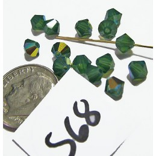 S68 Swarovski Bicone Bead PALACE GREEN OPAL AB 5mm