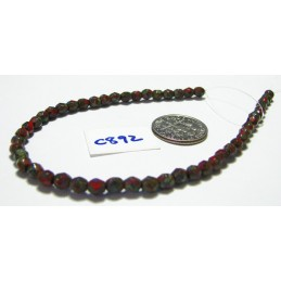 C892 Czech Glass Faceted Round Bead OPAQUE RED PICASSO 4mm