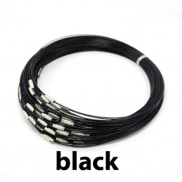 BLACK Stainless Steel Choker Screw Clasp 18 inch