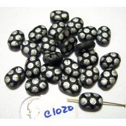 C1020 Czech Vintage Glass Oval Pineapple Bead MATTE BLACK/SILVER PEACOCK 13x9mm