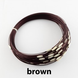 BROWN Stainless Steel Choker Screw Clasp 18 inch