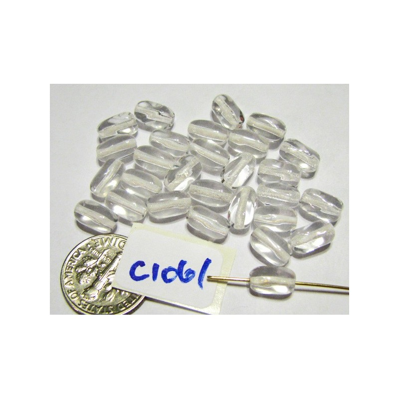 C1061 Czech Glass Twisted Rectangle Oval Bead CLEAR 6x9mm