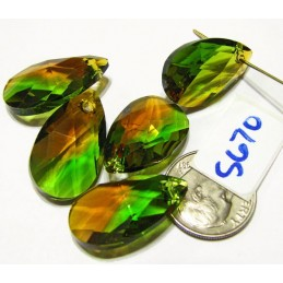 S670 Swarovski 6106 Pear Shape Pendant  FERN GREEN/TOPAZ BLEND  22mm