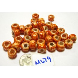 M679 India Glass Crow Bead COPPER MARBLED 9mm